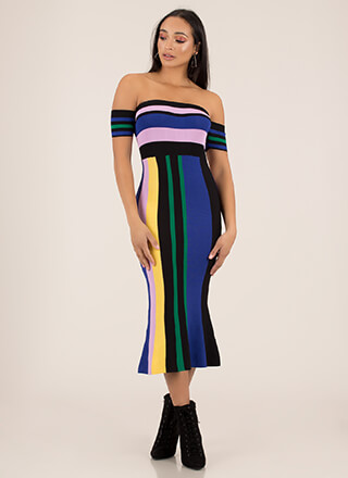 Front Lines Striped Off-Shoulder Dress