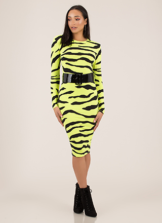 Tiger On The Prowl Belted Striped Dress