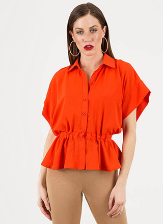 Pretty In Peplum Collared Dolman Top