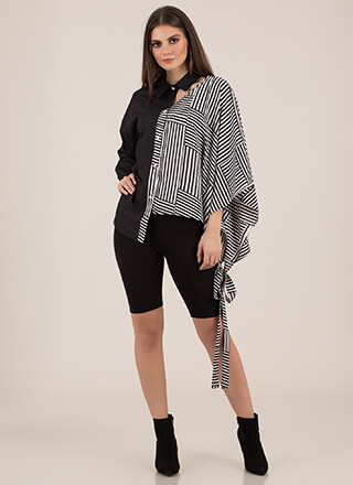 Better Half Striped Asymmetrical Blouse