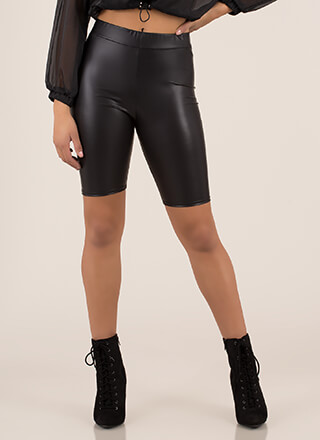The Feels Faux Leather Biker Shorts