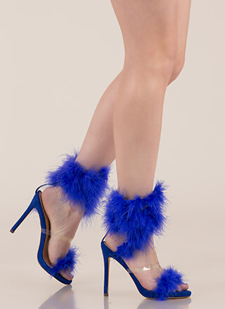 In Fine Feather Furry Coiled Heels