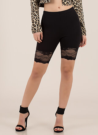 Lace Get It On Trimmed Biker Shorts