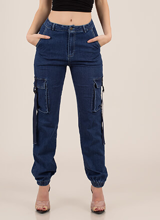 Too Cool To Handle Denim Cargo Joggers