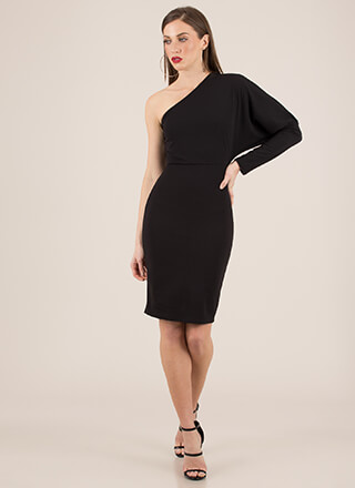 Evening Asymmetrical Puffy Sleeve Dress