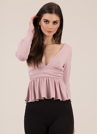 Pretty Perfect Plunging Peplum Top