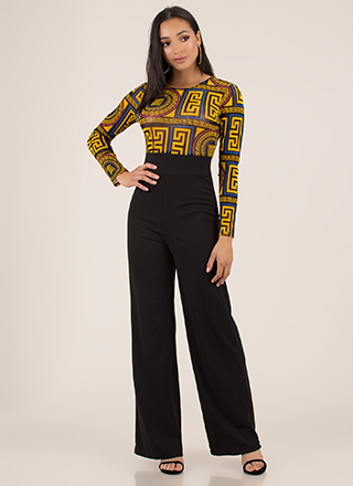 Chic In Greek Key Wide-Leg Jumpsuit