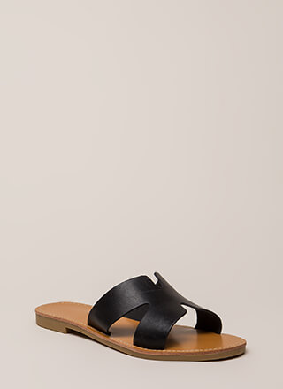 7a2c558f764a Take It Easy Faux Leather Slide Sandals
