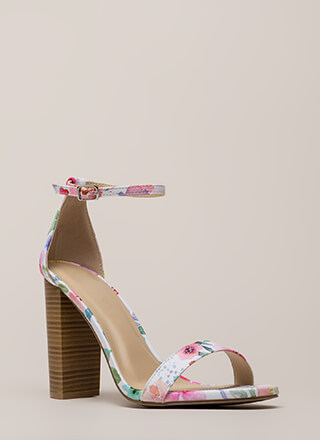 Fresh Flowers Chunky Watercolor Heels