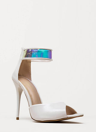 In A Flash Holographic Peep-Toe Heels