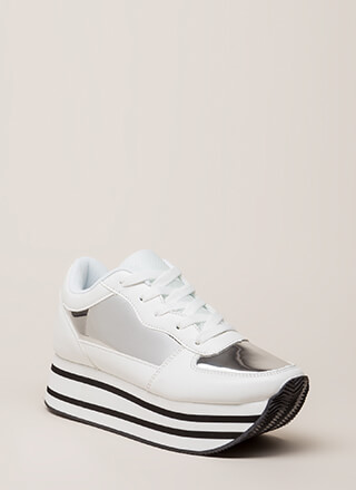 High Shine Striped Platform Sneakers