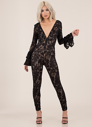 Lace Get It On Bell Sleeve Jumpsuit