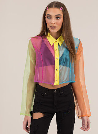 Colorblock Party Collared Organza Top