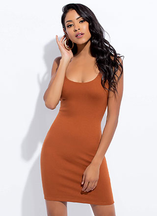 Curve Your Enthusiasm Solid Minidress
