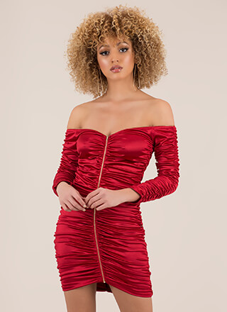 Big Gathering Off-Shoulder Satin Dress