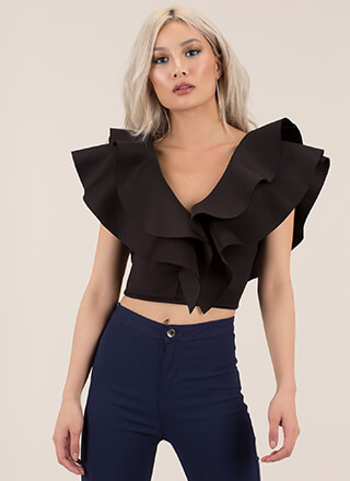 Double The Fun Ruffled Crop Top
