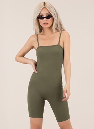 All Curves Ribbed Biker Short Romper