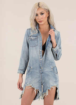 Distress Call Button-Up Denim Romper
