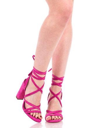 Tie It Together Chunky Lace-Up Heels
