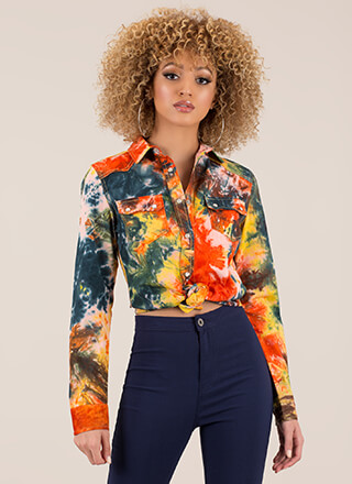True Color Tie-Dye Button-Up Shirt