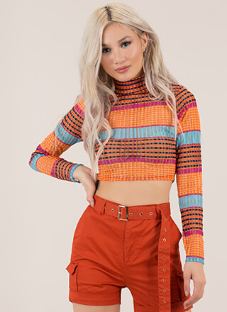 Have Fun Striped Shadow Mesh Crop Top