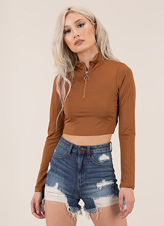 Up To My Neck Zip-Front Crop Top