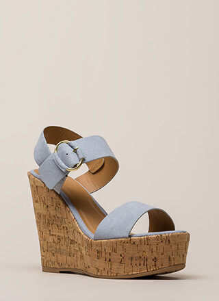 Checkmate Cork Platform Wedges