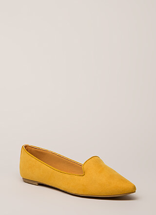 Point Out Faux Suede Smoking Flats