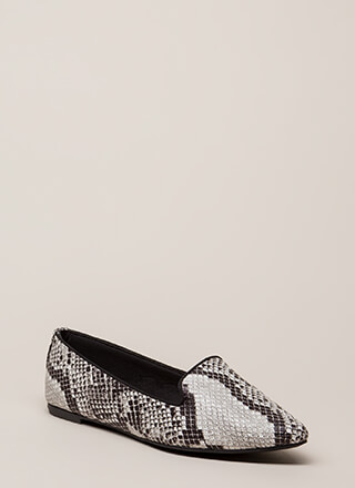 Point Out Faux Snake Smoking Flats