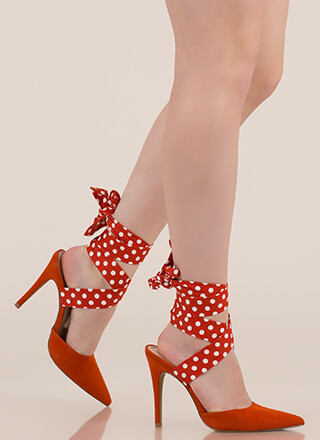Seriously Cute Lace-Up Polka Dot Heels