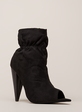 Scrunch Time Cone Heel Peep-Toe Booties