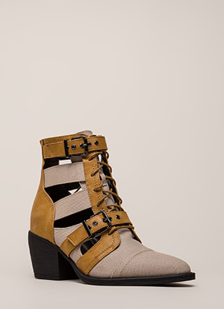 b9075c659b1 Strap In Lace-Up Block Heel Booties