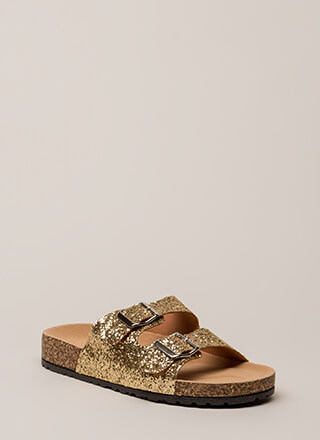 Go Ahead Glittery Platform Slide Sandals