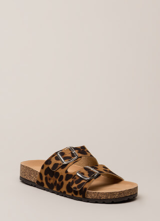 Go Ahead Leopard Platform Slide Sandals