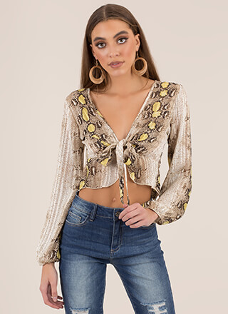 Snake It Off Cropped Tie-Front Blouse