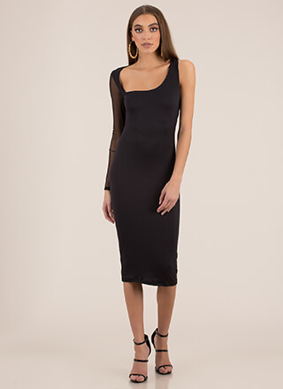 It's Art Asymmetrical Mesh Sleeve Dress