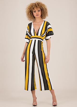 Stripe Fast Cropped Dolman Jumpsuit