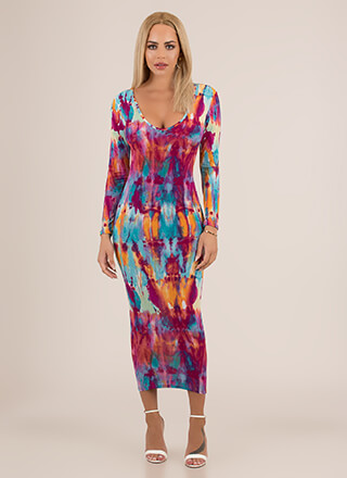 Inkblot Test Watercolor Maxi Dress