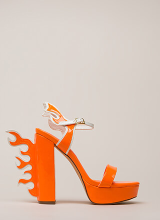 Flaming Hot Chunky Platform Heels