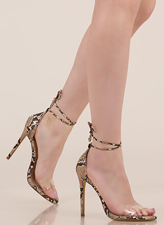 Clearly Reptilian Scaled Lace-Up Heels