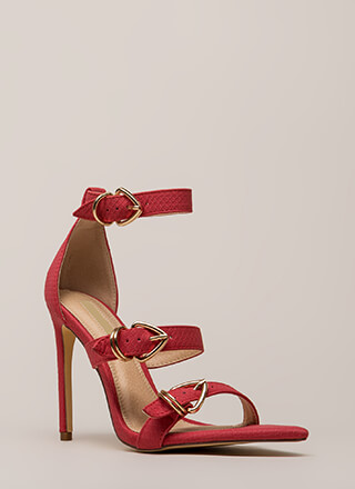 Ravishing Reptilian Strappy Scaled Heels