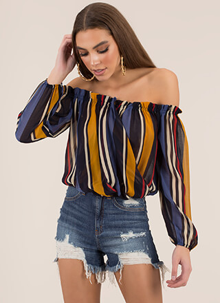 Striped Sensation Off-Shoulder Top