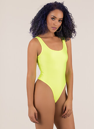 Let's Get Physical Nylon Thong Bodysuit