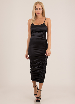 Slinky Promise Ruched Satin Midi Dress