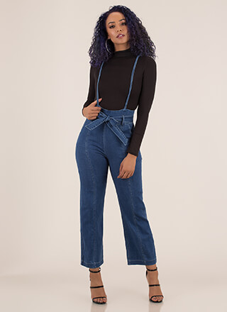 You're Suspendered Wide-Leg Denim Pants