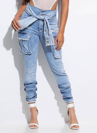 To Tie For Sleeved Acid Wash Cargo Jeans