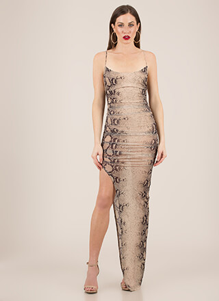 Snake Out Tonight Sheer Slit Maxi Dress