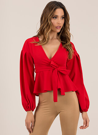 Just Lovely Tied Puffy Sleeve Top