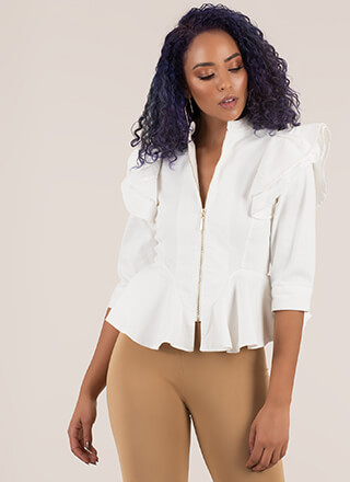 Drama Mama Ruffled Zip-Up Peplum Top