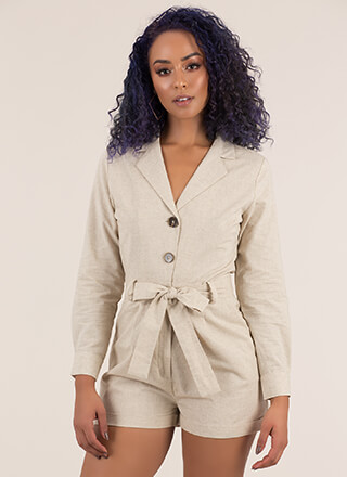All Buttoned Up Tie-Front Romper